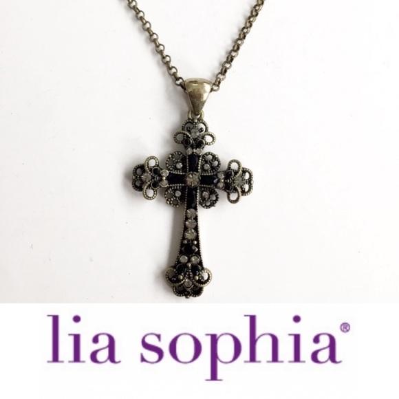 Lia Sophia Rhinestone Studded Cross Necklace